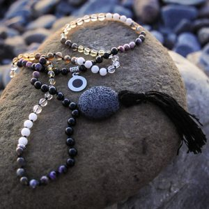 New Moon mala hand crafted by Jennifer at Tula Rashi Designs