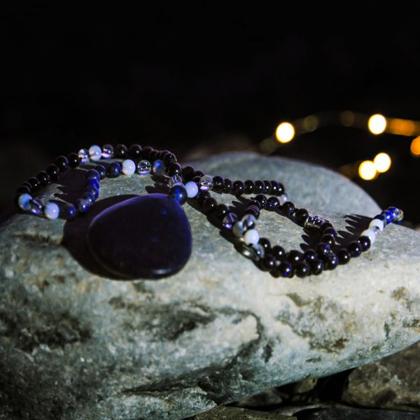 Starry Sky mala hand crafted by Jennifer at Tula Rashi Designs
